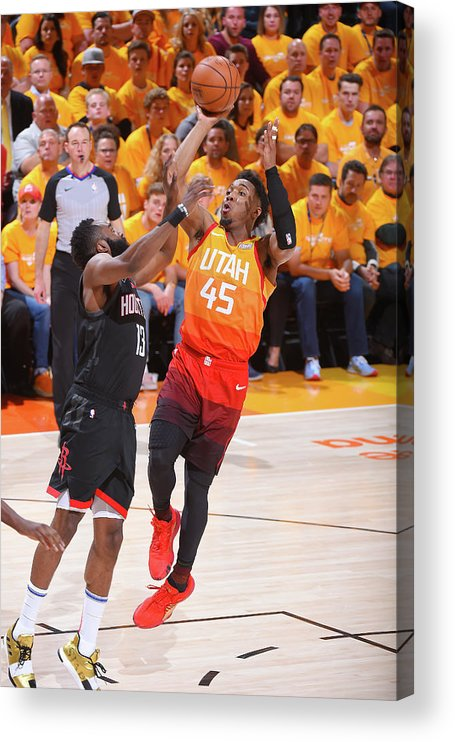 Playoffs Acrylic Print featuring the photograph Donovan Mitchell and James Harden by Bill Baptist