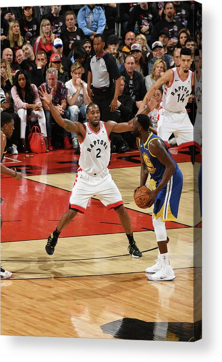 Playoffs Acrylic Print featuring the photograph Draymond Green and Kawhi Leonard by Ron Turenne