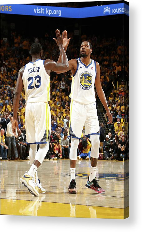 Playoffs Acrylic Print featuring the photograph Draymond Green and Kevin Durant by Nathaniel S. Butler
