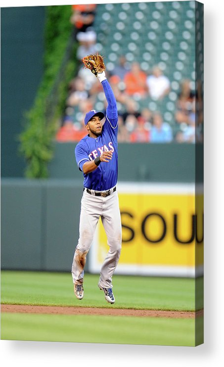 Second Inning Acrylic Print featuring the photograph Elvis Andrus and Ryan Flaherty by Greg Fiume