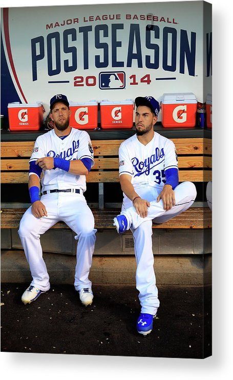 American League Baseball Acrylic Print featuring the photograph Eric Hosmer And Alex Gordon by Jamie Squire