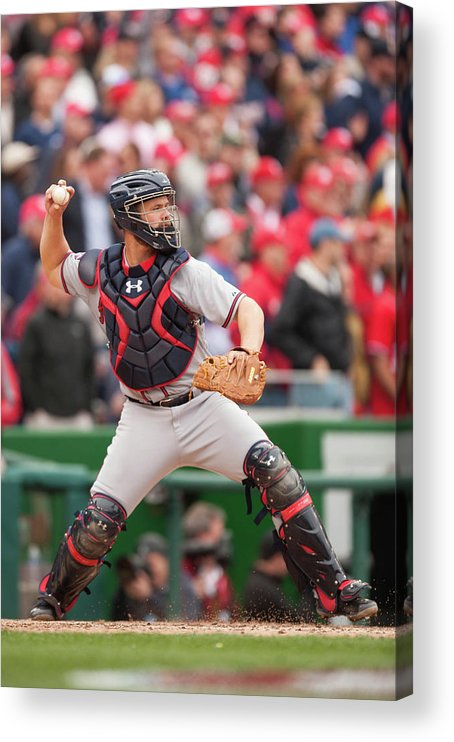 Evan Gattis Acrylic Print featuring the photograph Evan Gattis by Mitchell Layton
