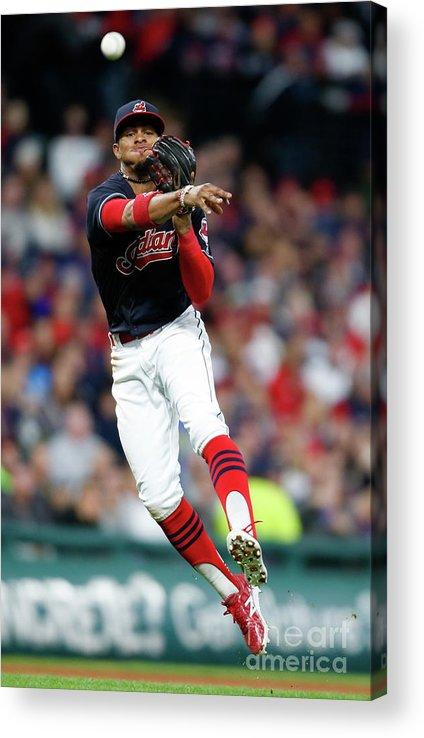People Acrylic Print featuring the photograph Francisco Lindor by Ron Schwane