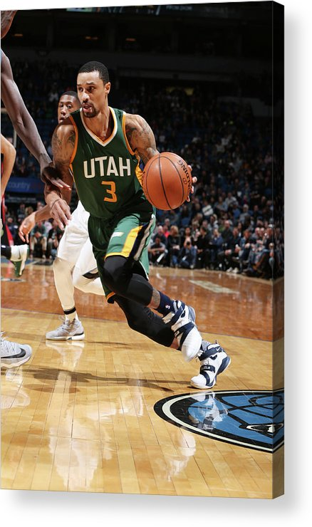 Nba Pro Basketball Acrylic Print featuring the photograph George Hill by David Sherman