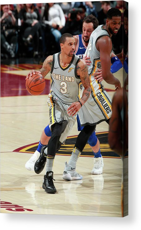 Nba Pro Basketball Acrylic Print featuring the photograph George Hill by Jeff Haynes