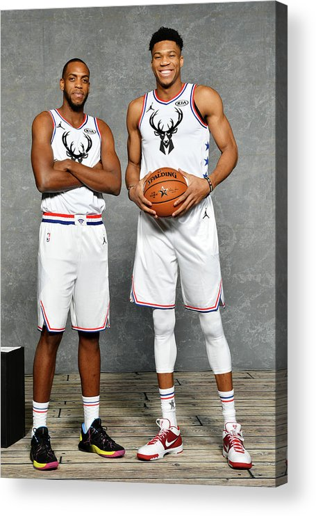 Nba Pro Basketball Acrylic Print featuring the photograph Giannis Antetokounmpo and Khris Middleton by Jesse D. Garrabrant