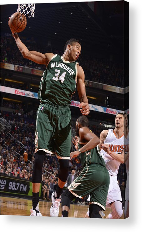 Nba Pro Basketball Acrylic Print featuring the photograph Giannis Antetokounmpo by Barry Gossage