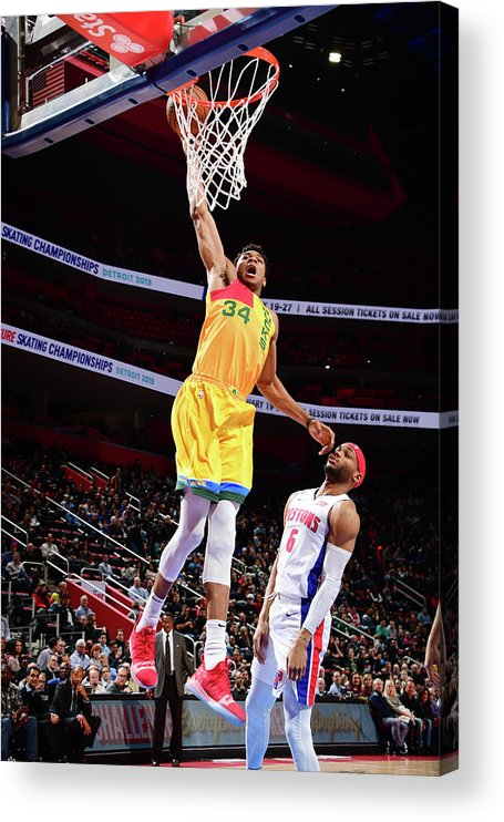 Nba Pro Basketball Acrylic Print featuring the photograph Giannis Antetokounmpo by Chris Schwegler