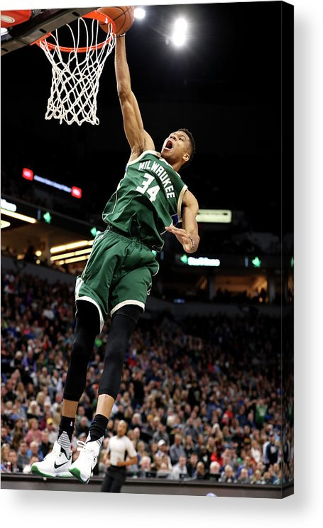 Nba Pro Basketball Acrylic Print featuring the photograph Giannis Antetokounmpo by Jordan Johnson