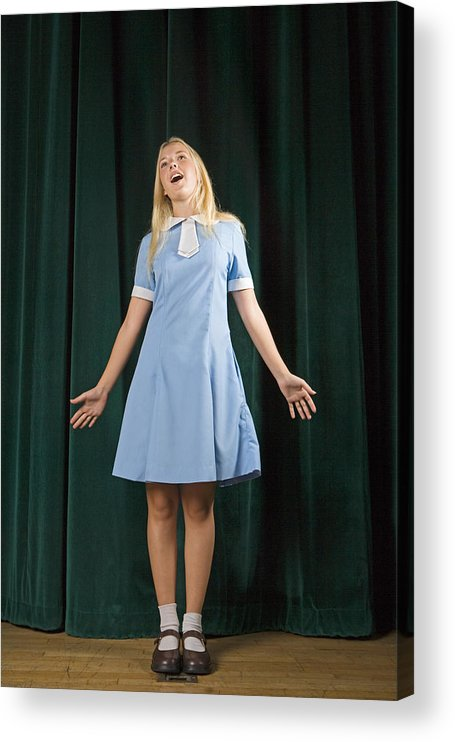 People Acrylic Print featuring the photograph Girl singing on stage by IT Stock Free