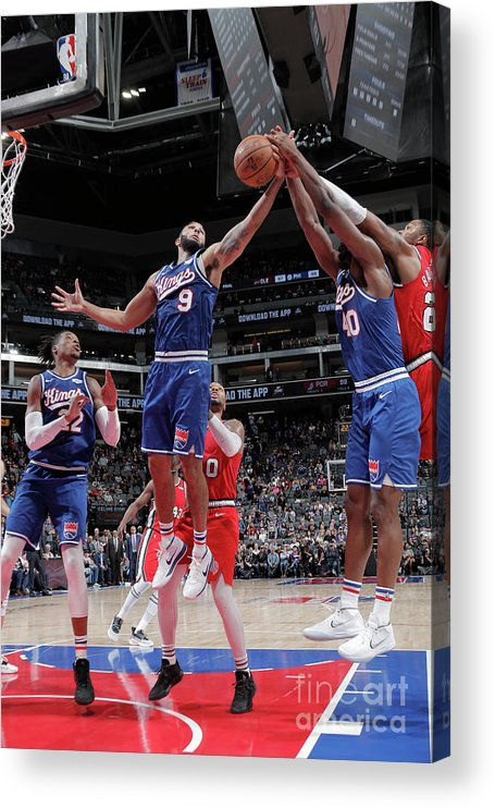 Nba Pro Basketball Acrylic Print featuring the photograph Harrison Barnes and Cory Joseph by Rocky Widner