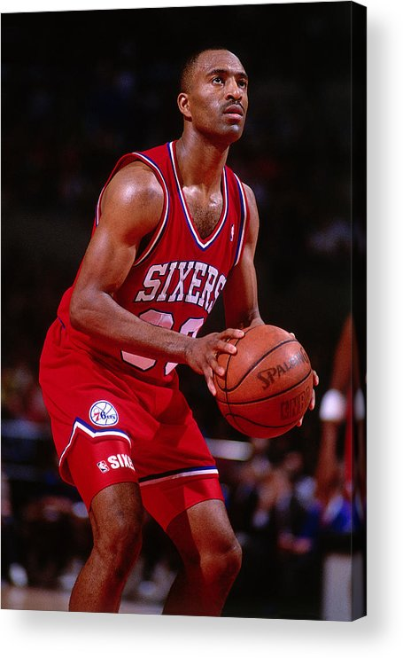 Nba Pro Basketball Acrylic Print featuring the photograph Hersey Hawkins by Brian Drake