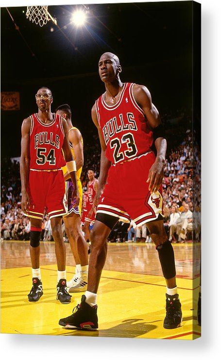 Chicago Bulls Acrylic Print featuring the photograph Horace Grant and Michael Jordan by Andrew D. Bernstein