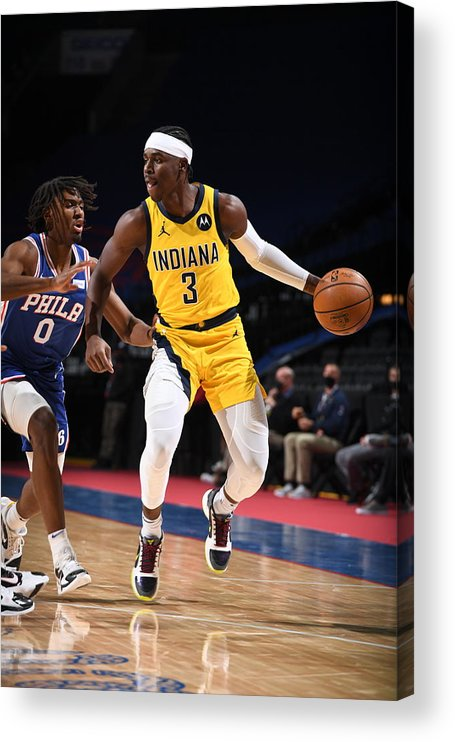 Nba Pro Basketball Acrylic Print featuring the photograph Indiana Pacers v Philadelphia 76ers by Garrett Ellwood