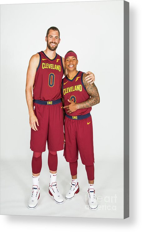 Media Day Acrylic Print featuring the photograph Isaiah Thomas and Kevin Love by Michael J. Lebrecht Ii