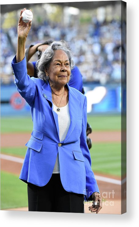 Crowd Acrylic Print featuring the photograph Jackie Robinson by Lisa Blumenfeld