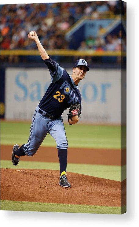 American League Baseball Acrylic Print featuring the photograph Jake Odorizzi by Scott Iskowitz