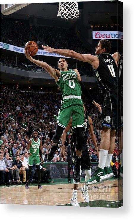 Nba Pro Basketball Acrylic Print featuring the photograph Jayson Tatum by Gary Dineen