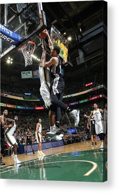 Nba Pro Basketball Acrylic Print featuring the photograph Jeff Ayres and Derrick Favors by Melissa Majchrzak