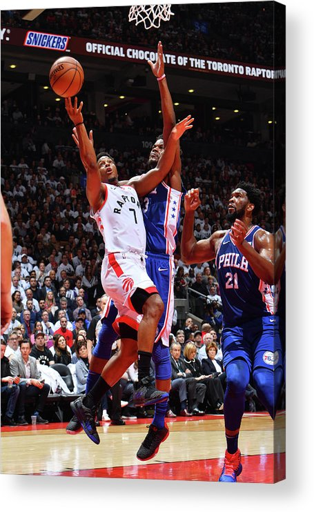 Playoffs Acrylic Print featuring the photograph Jimmy Butler and Kyle Lowry by Jesse D. Garrabrant