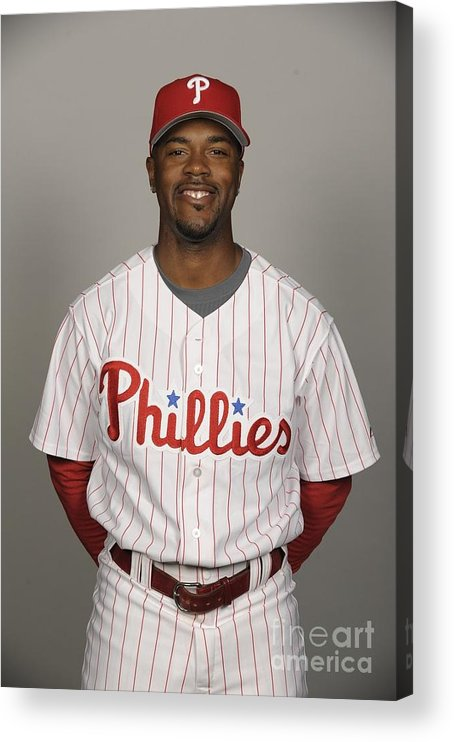 Media Day Acrylic Print featuring the photograph Jimmy Rollins by Tony Firriolo