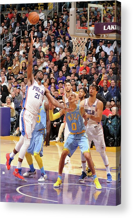 Nba Pro Basketball Acrylic Print featuring the photograph Joel Embiid by Andrew D. Bernstein