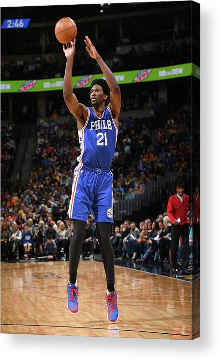 Nba Pro Basketball Acrylic Print featuring the photograph Joel Embiid by Garrett Ellwood
