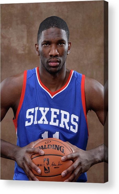 Nba Pro Basketball Acrylic Print featuring the photograph Joel Embiid by Jennifer Pottheiser