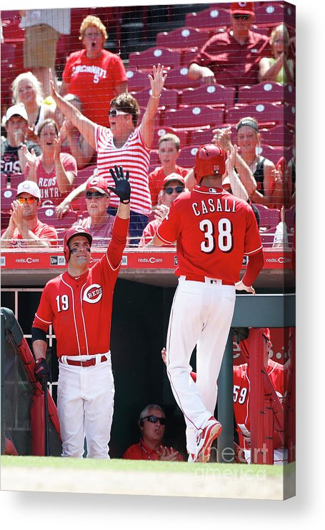 Great American Ball Park Acrylic Print featuring the photograph Joey Votto and Wade Davis by Joe Robbins