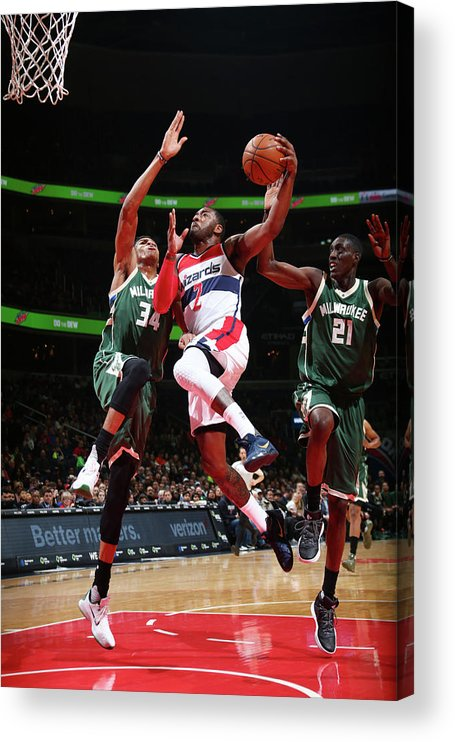 Nba Pro Basketball Acrylic Print featuring the photograph John Wall and Giannis Antetokounmpo by Ned Dishman