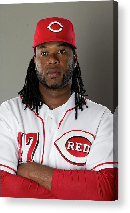 American League Baseball Acrylic Print featuring the photograph Johnny Cueto by Mike Mcginnis