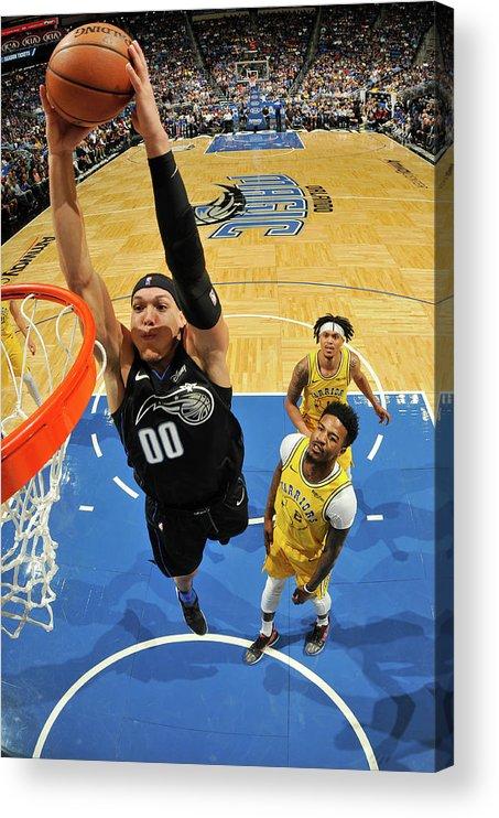 Nba Pro Basketball Acrylic Print featuring the photograph Jordan Bell and Aaron Gordon by Fernando Medina