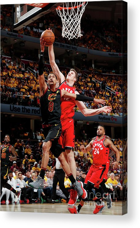 Playoffs Acrylic Print featuring the photograph Jordan Clarkson and Jakob Poeltl by Jeff Haynes
