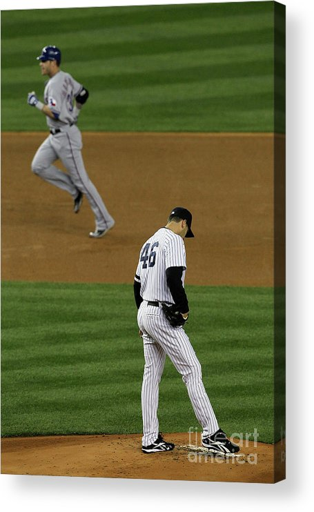 Playoffs Acrylic Print featuring the photograph Josh Hamilton and Andy Pettitte by Jim Mcisaac