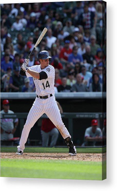 National League Baseball Acrylic Print featuring the photograph Josh Rutledge by Doug Pensinger