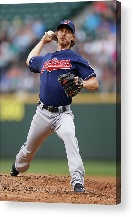 American League Baseball Acrylic Print featuring the photograph Josh Tomlin by Otto Greule Jr