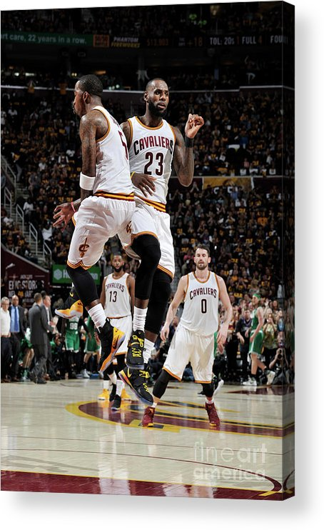 Playoffs Acrylic Print featuring the photograph J.r. Smith and Lebron James by David Liam Kyle