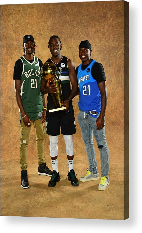 Playoffs Acrylic Print featuring the photograph Jrue Holiday and Justin Holiday by Jesse D. Garrabrant