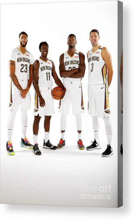 Media Day Acrylic Print featuring the photograph Jrue Holiday, Anthony Davis, and Julius Randle by Jonathan Bachman