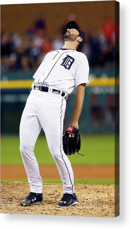 Ninth Inning Acrylic Print featuring the photograph Justin Verlander and Chris Iannetta by Duane Burleson