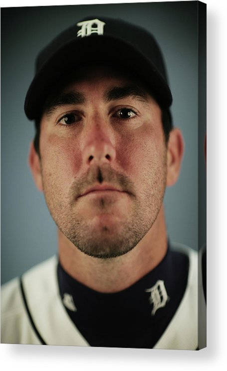 Media Day Acrylic Print featuring the photograph Justin Verlander by Nick Laham