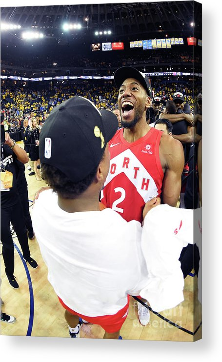 Playoffs Acrylic Print featuring the photograph Kawhi Leonard and Kyle Lowry by Andrew D. Bernstein