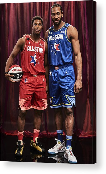 Nba Pro Basketball Acrylic Print featuring the photograph Kawhi Leonard and Kyle Lowry by Jennifer Pottheiser