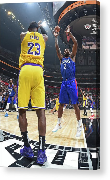 Nba Pro Basketball Acrylic Print featuring the photograph Kawhi Leonard and Lebron James by Andrew D. Bernstein