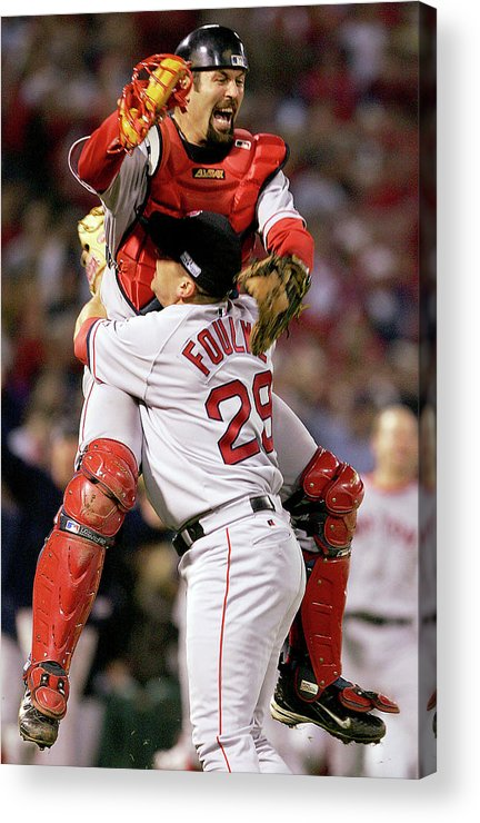 Celebration Acrylic Print featuring the photograph Keith Foulke and Jason Varitek by Jed Jacobsohn