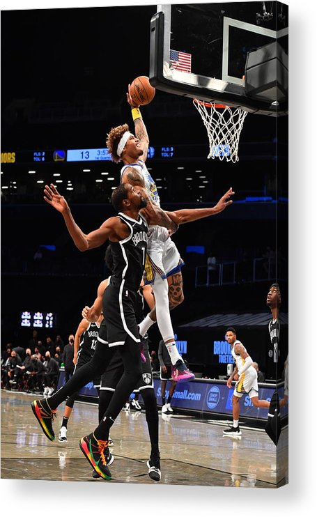 Nba Pro Basketball Acrylic Print featuring the photograph Kelly Oubre and Kevin Durant by Jesse D. Garrabrant