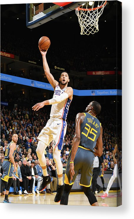 Nba Pro Basketball Acrylic Print featuring the photograph Kevin Durant and Ben Simmons by Noah Graham