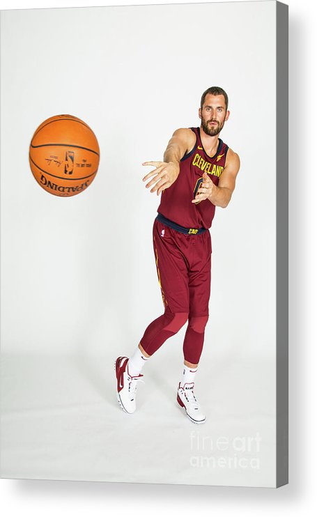 Media Day Acrylic Print featuring the photograph Kevin Love by Michael J. Lebrecht Ii