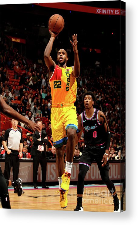 Nba Pro Basketball Acrylic Print featuring the photograph Khris Middleton by Oscar Baldizon