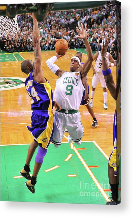 Playoffs Acrylic Print featuring the photograph Kobe Bryant and Rajon Rondo by Brian Babineau